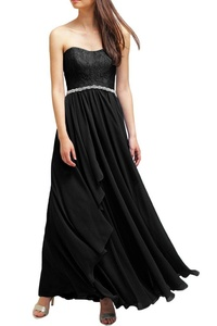 MILANO BRIDE Amazing Prom Party Dress Strapless A-line Lace Crystals Chiffon-22W-Black