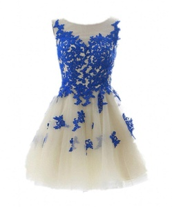 Winnie Bride Short Sleeveless Cocktail Party Dress Tulle Lace Applique Prom Gown-12-Blue