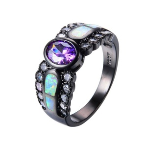 CHIC Fashion Purple Amethyst Ring White Fire Opal Rings Black Gold Promise Engaget Rings 9.0