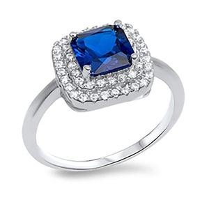 Sterling Silver 925 Clear Cubic Zirconia CZ Womens Princess Cut Sapphire Fashion Ring Sz 5-9 (5)