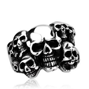ARICO Men Punk Biker Jewelry lot of multi solid Skull Ring 316L Stainless Steel Jewelry 13.0