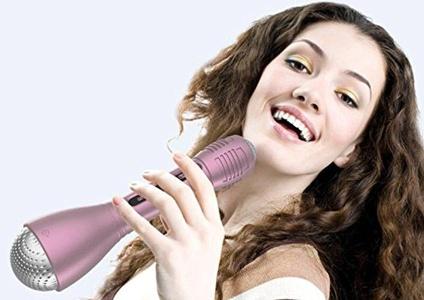 Bluetooth wireless handheld microphone speaker karaoke singing with apple iPhone compatible Android smartphone handset