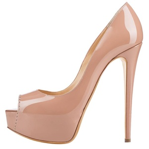 Maikool Women's Peep Toe Platform Stiletto Heels Patent Pumps Prom Shoes 5 M US Nude