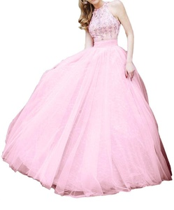 Winnie Bride 2016 Crystals Halter Prom Military Ball Dresses Long Evening Gowns-4-Pink