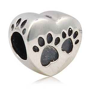 Puppy Dog Paw Print Heart Shape Charm 925 Sterling Silver Animal Pawprint Bead for European Style 3mm Bracelet