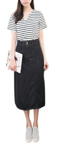 Women's Leisure Plus Size Loose High Waisted Black Pencil Midi Denim Jean Skirts