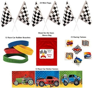 Racing Party Favor Pack 120 pc Kid's Race Car Birthday (24 Mini Checkered Flags, 12 Rubber Bracelets, 72 Tattoos, 12 sticker sheets, Bonus Bag) by Multiple