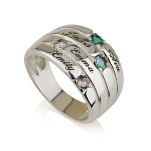 Mothers Ring Engraved Birthstone Ring 4 Stone Ring -925 Sterling Silver - Personalized & Custom Made (6.5)
