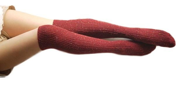6 Pairs Women Girls Wool Knee High Turn Up Rib Colorful Winter Socks