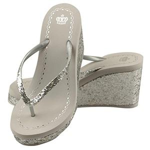 MonicKruh Shoes Womens Beach Wedge High Heels Silver Flip Flop Wisp Sandals