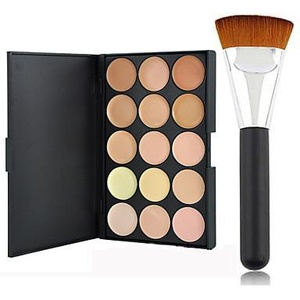 Pro Party 15 Colors Contour Face Cream Makeup Concealer Palette + Powder Brush