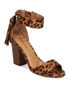 Breckelles FD62 Women Faux Suede Leopard Peep Toe Tassel Chunky Heel Sandal - Leopard (Size: 9.0)