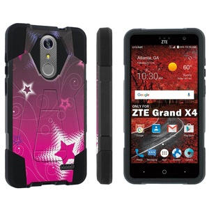ZTE [Grand X 4] [Z956] Armor Case [Skinguardz] [Black/Black] Advance Defender [Kick Stand] - [Pink Stars] for ZTE [Grand X 4] [GrandX4]