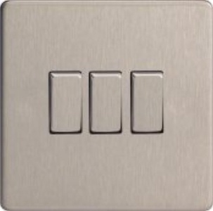 XDS3S - Varilight - Flat Plate Screwless - Brushed Chrome Metal Inserts - 3 Gang 2 Way 10A Light Switch by Flat Plate Screwless - Brushed Chrome