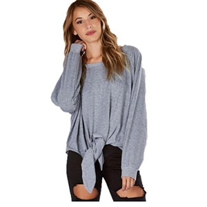 Blouse, Misaky Women Round Neck Loose Long-Sleeved Sleeve Casual Tops T-Shirt Hedging Blouse, Misaky Letters Printed Women Round Neck Top (L, Gray)