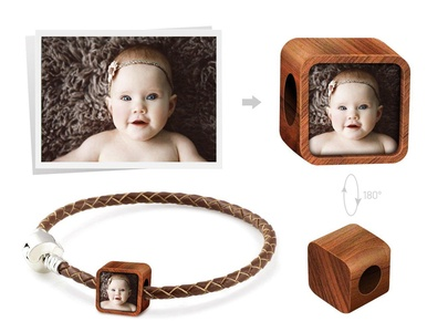 Creationtop Personalized fits Pandora charm with your kids photos Add Own Photo Custom Charm(natural wood)