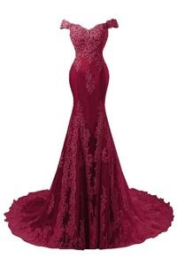 JAEDEN Formal Elegant Evening Dresses for Wedding Lace Prom Party Dress Gown Off Shoulder Burgundy US16W