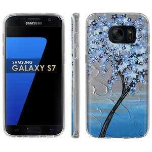 Samsung Galaxy [S7] Phone Case [ArmorXtreme] [Clear] Designer Image [Flexi Gel TPU] - [Blue Blossom] for Samsung Galaxy S7 / GS7