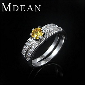 Slyq Jewelry Yellow Ring Sets Platinum plated Wedding Ring Vintage Jewelry Accessories Engagement Bague for lady