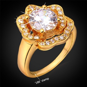 delatcha Jewelry Luxury Wedding Ring Cubic Zirconia Rose Flower Jewelry Valentine's Day Platinum/ Gold Plated Crystal Ring Women R1156
