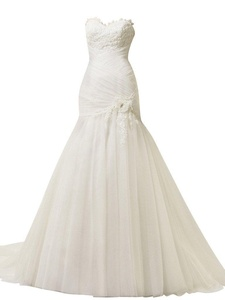 Rachel Weisz Women's Sweetheart Lace Mermaid Flower Sash Wedding Dresses Bride Evening Formal Ball Gown White US6