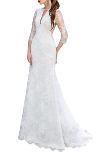 Dreamdress Women' Lace Half Sleeve Train A-Line Wedding Dresses Ball Gown