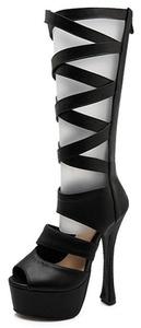 Summerwhisper Women's Sexy Peep Toe High Platform Mid Calf Boots Back Zipper Chunky High Heel Gladiator Sandals Black 6 B(M) US