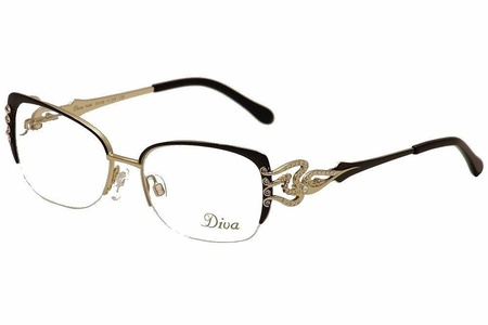 Diva Women's Eyeglasses 5440 219 Black/Gold/Crystal Half Rim Optical Frame 53mm