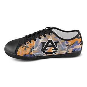 H-ome Art Ncaa Auburn Tigers Men's Low-top Lace-Up Canvas Shoes Casual Sneakers ,Black