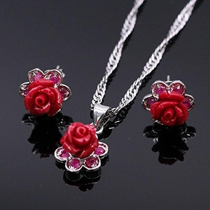 Red Rose Flower Pendant Necklace Earring Rose Silver Plated Costume Fashion Jewelry Sets for Women