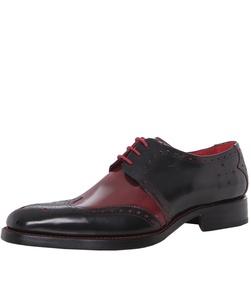 Jeffery-West Men's Dexter Bay Wing Tip Shoes Black & Red