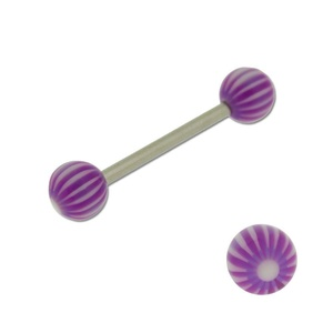 Acrylic Barbell Tongue Ring with Purple & White Ball