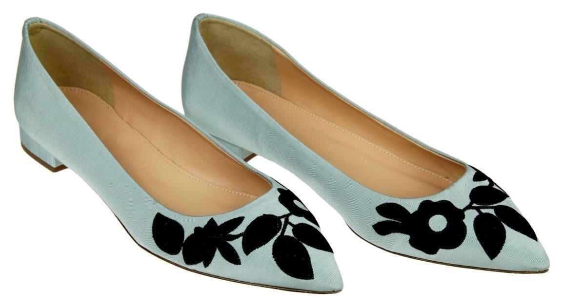 J Crew Embroidered Pointed-Toe Flats Aqua Mist Blue Size 7.5 New
