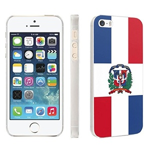 iPhone [SE/5/5S] Phone Case [Skinguardz] [Clear] Fancy Protection [Clear Form Fit] - [Dominican Republic Flag] for iPhone [SE/5/5S]