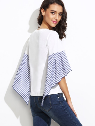 Blue Striped Asymmetric Bell Sleeve White Top