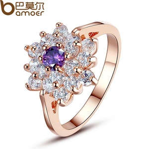 Slyq Jewelry Rose Gold Plated Ring for Prom Prong Setting with Purple and White Cubic Zirconia Jewelry JIR057