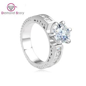Cherryn Jewelry Bride Engagement 1 Carat Round Cubic Zircon Stone White Gold Plated Ladie's Ring for Wedding Jewelry