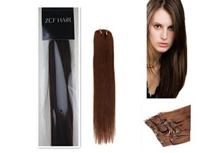 15'' 100% Real Human Hair 7PCS Clip In Human Hair Extensions Straight hair Color 04 Medium Brown 70g Beauty Design Salon by ZCF HAIR