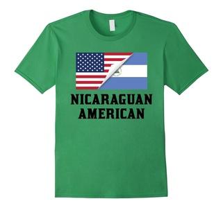 Men's Flags of Nicaragua And USA Nicaraguan American T-Shirt Large Grass