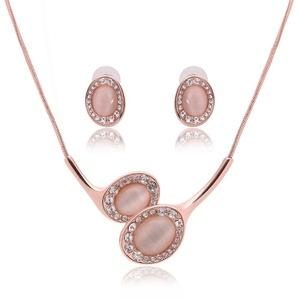 Retro Crystal Opal Jewelry Set Wedding Accessories Wedding jewelry Earrings + necklace