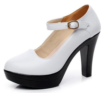 CHFSO Women's Classic Solid Round Toe Buckle Ankle Strap High Chunky Heel Platform Pumps White 5 B(M) US