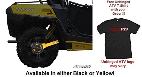 Bundle: 2 Items SuperATV Can-Am Commander Extended +4 Rear Trailing Arms and Unhinged ATV T-shirt (XL, Yellow)