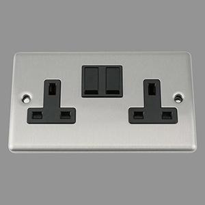 A5 Socket 2 Gang - Satin Matt Chrome Classic - Black Insert - Plastic Rocker Switch by A5 Products