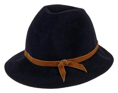 Patricia Underwood For J Crew Felted Fedora Hat One Size Navy W/ Brown Ribbon