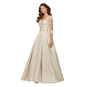JoyVany V Neck Lace Appliques Prom Dresses Half Sleeve Elegant Evening Dresses Ivory Size Custom