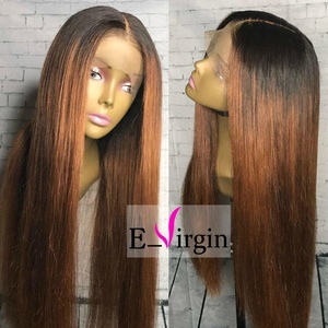 Virgin Hair Factory Silk Straight Ombre Color Unique Full Lace Wig 100% Brazilian Remy Human Hair wigs Can be dyed and curled for Woman (150% Density,26 inch)