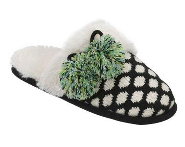 Dearfoams Women's Fairisle Closed Toe Scuff Memory Foam Slipper (Medium / 7-8 B(M) US, Black)