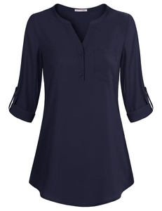 Cuffed Sleeve Shirts for Women,Messic Women's V-Neck Blouses 3/4 Roll-Up Sleeve Button Casual Chiffon Tunic Shirt (X-Large, Navy)
