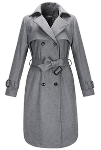 Kearia Women Classic Double Breasted Wool Blend Belted Mid Length Trench Coat Jacket Gray Small