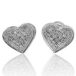 Ladies Heart Stud Earrings 0.10 Cttw Diamonds 10k White Gold Screw Back 7mm(i2/i3, i/j)